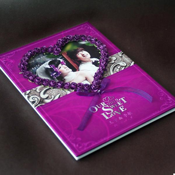 欧式个性照片封面紫色玫瑰婚礼签名册 签到本 礼金簿-Paile派乐个性概图片