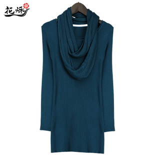 Europe and  big yards round tie collar design pure color female M6396 render sweater