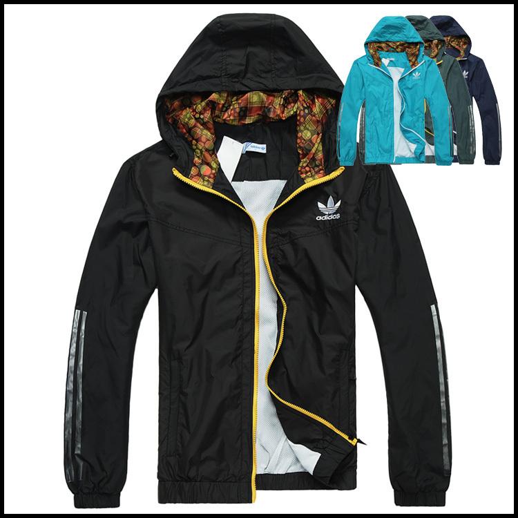 Спортивная ветровка Adidas 2619 Для мужчин Молния Полиэстер Для спорта и отдыха Быстросохнущие