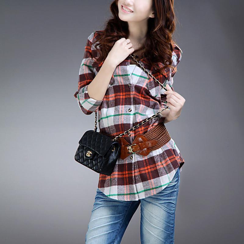 женская рубашка COCO BELLA HT61 Повседневный Длинный рукав В клетку