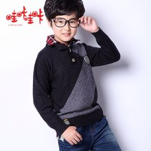 Wow making wow male children's clothing woolen sweater 2014 new tide off two shirts to bring children knitted sweater render unlined upper garment