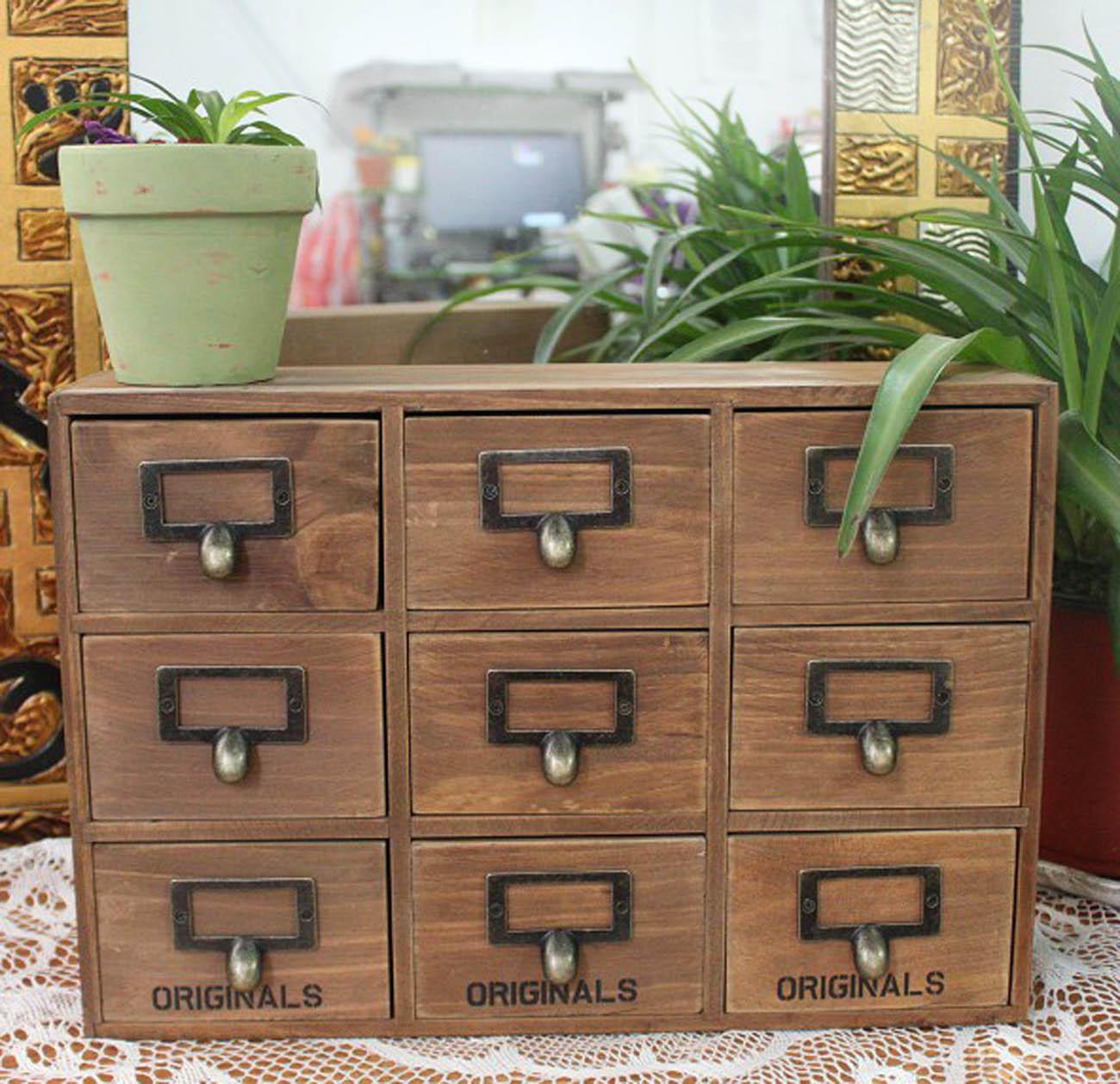 Настольный ящик для канцелярии Zakka продуктовых Винтаж хранения ящик шкафа коробки хранения беспорядок шкафы древесины шкафы