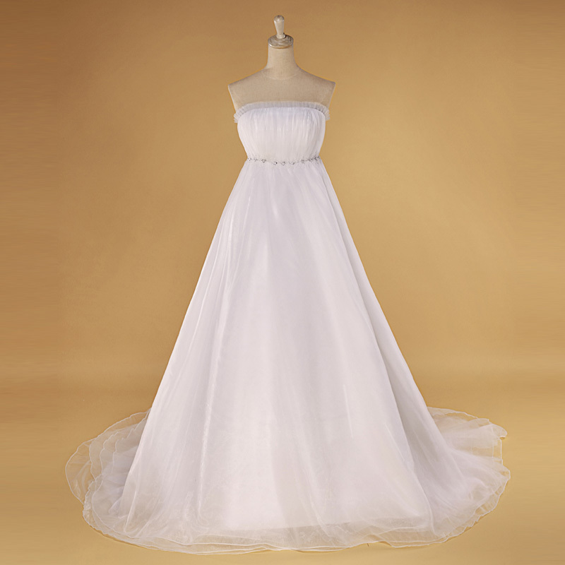 艾妮经典 2012最新款韩版 婚纱礼服 抹胸 高腰 豪华大拖尾婚纱