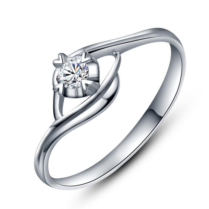 岚姐姐 18K白金钻石戒指女戒 ZJ0280【秀石头】显钻款 包邮
