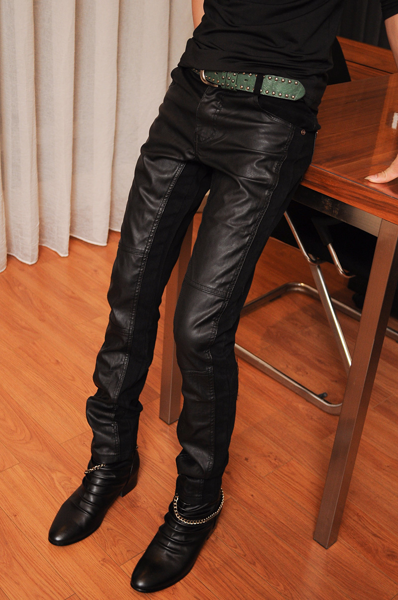 Black matte-2013 leather pants male Korean wave of slim non-mainstream male singer's stage costume club night