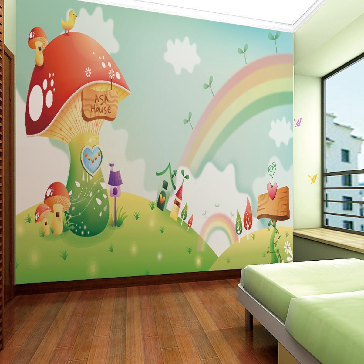 米素壁画 彩虹 儿童房卧室环保浪漫温馨装修材料 壁纸电视墙背景