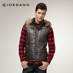 2012 Giordano shuaimao collar leather jacket men's cool warm cotton vest 01071571