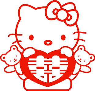 kitty抱喜B/婚庆红色喜字剪纸婚房装饰布置贴纸结婚喜字贴画定制