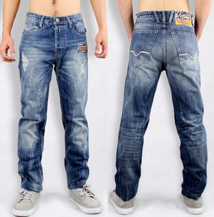 Джинсы мужские Rep REP/x0904 REPLAY Прямые брюки (окружность голени=окружности отворота) Классическая джинсовая ткань Английский стиль 2012