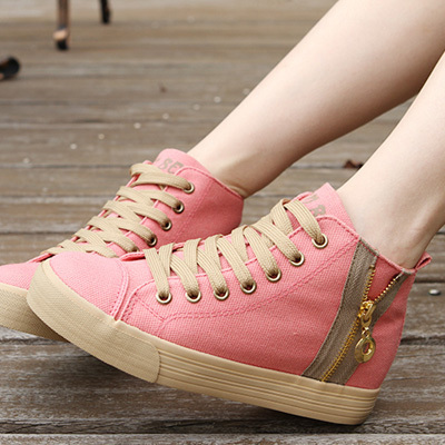 Free shipping Spring 2014 Human genuine increase in the new high-top canvas shoes, fashion shoes side zipper women's shoes