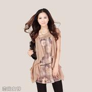 中年女人大码雪纺衫长衫女潮宽松夏装假两件套短袖上衣中长款