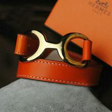 Grandes de la caja de lujo bellamente decoradas famoso Hermes diseños de pulsera de cuero en tres colores para enviar