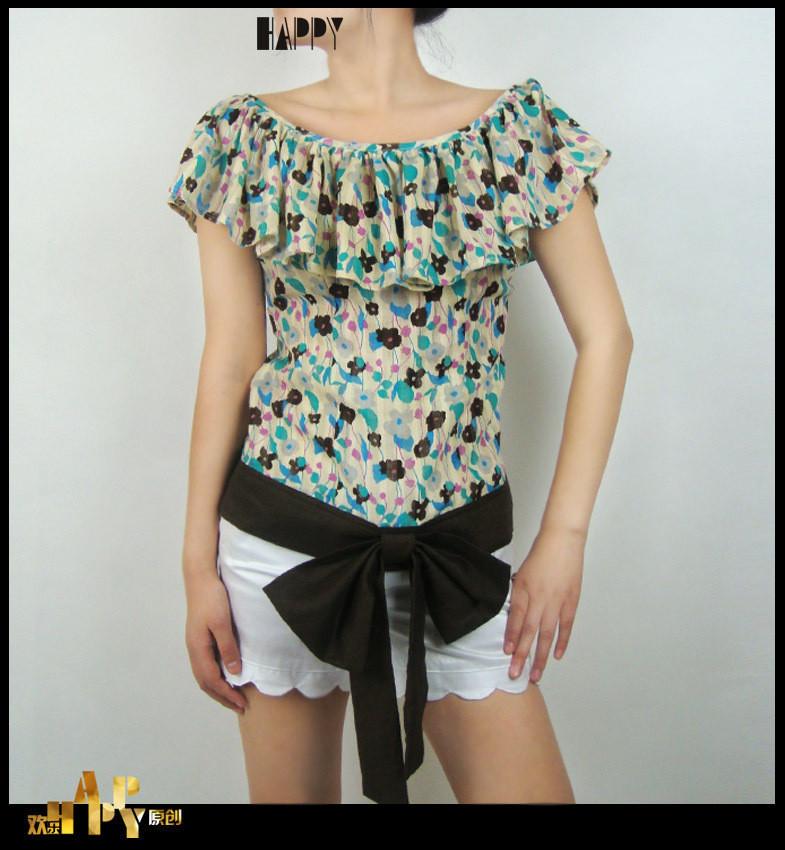 женская рубашка Joy Happy Оригинальный дизайн Короткий рукав Рисунок в цветочек Оборка