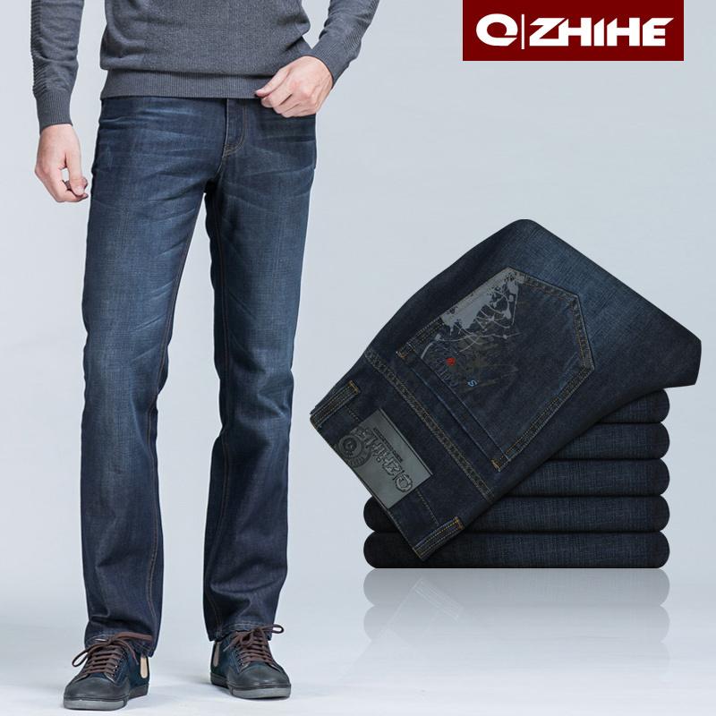 Джинсы мужские QZHIHE qzh117 117 Прямые брюки (окружность голени=окружности отворота) Классическая джинсовая ткань Повседневный стиль 2012