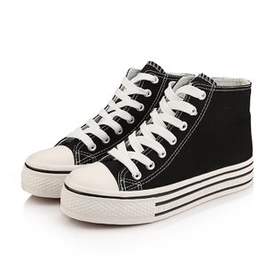 2014潮黑白高帮松糕女鞋厚底增高鞋 高帮帆布鞋女单鞋 中靴子