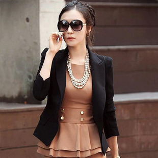 2012 spring clothing new temperament of Korean fashion long sleeve small skinny suit dress jacket black white
