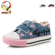 Is fashionable canvas shoes Hand-painted shoes low help Velcro children of the girls Lace children shoes