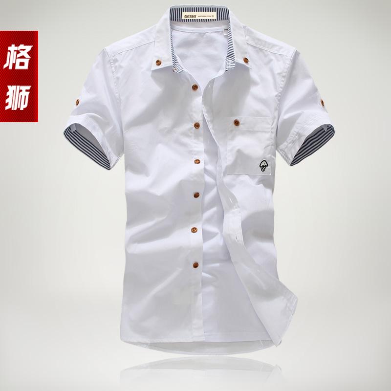 Рубашка мужская Grid Lions dc013 2012 Лето 2012 Хлопок без добавок Квадратный воротник Короткие рукава (длина рукава <35см)