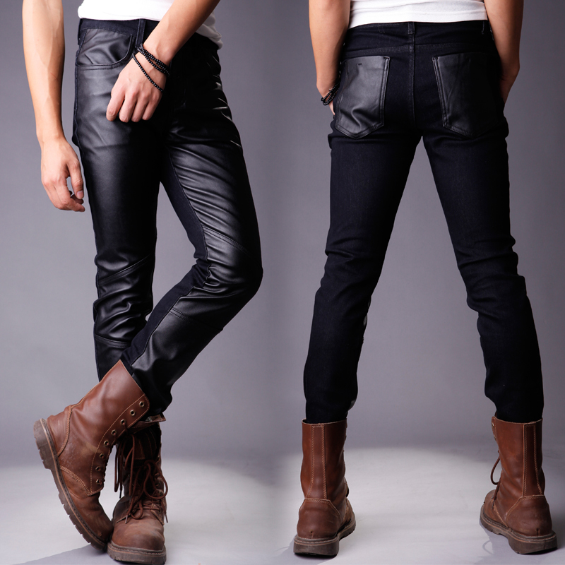 2013 new Korean leather pants men PU leather pants boys trousers jeans to spell leather stitching tidal pants men s pants,