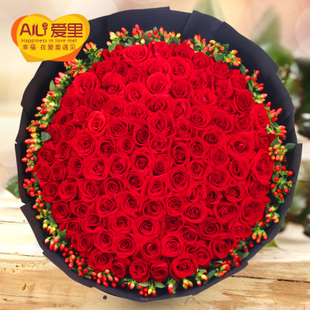 情人节99朵红玫瑰花束生日鲜花速递北京上海广州深圳成都杭州同城