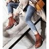 欧森曼复古粗跟马丁靴女秋冬厚底防水台高跟短靴绑带厚底踝靴裸靴