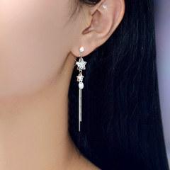 925纯银饰品 女星星锆石流苏耳坠日后挂时尚气质优雅百搭耳环