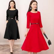 春秋连衣裙女2018女装短袖红色裙子复古赫本小红裙小礼服