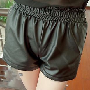 2014秋季胖MM加肥皮裤 特超大码女装松紧腰短裤显瘦200斤