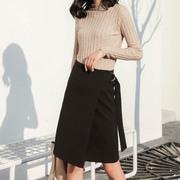 职业装秋冬季高腰a字裙气质显瘦中长款正式不规则半身裙白领