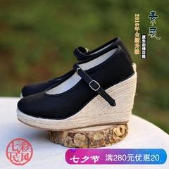 复古民族风女鞋黑色坡跟布鞋女手工布鞋民族风布鞋女士鞋子鞋