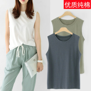 韩国夏装圆领宽松无袖背心t恤女夏外穿纯棉上衣中长款打底衫