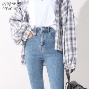 高腰牛仔裤女2018秋冬弹力显瘦加绒加厚紧身小脚百搭长裤