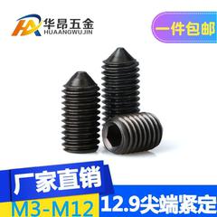 级尖头紧定螺丝止付无头内六角机米尖端顶丝螺丝M3-5M6M10M12