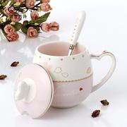办公室水杯子陶瓷创意情侣马克杯带盖勺可爱咖啡杯个性骨瓷牛奶杯