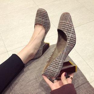 2018春季女鞋子英伦格子浅口方头粗跟单鞋女百搭高跟鞋潮