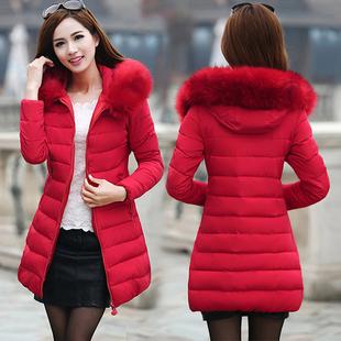 冬装羽绒棉服女大码女装外套韩版修身中长款棉衣女士加厚棉袄毛领