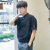 夏季立领半袖小清新日系纯色复古短袖衬衫男文艺五分袖亚麻衬衣潮