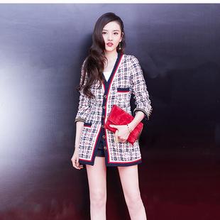 香港韩国宋祖儿明星格子外套女粗花呢中长款上衣秋装女