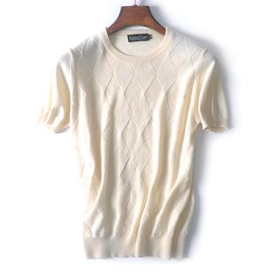 夏天圆领白色棉麻短袖毛衣t恤 男装薄款线衣针织衫 加大码打底衫