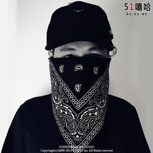 欧美街头朋克风嘻哈hiphop潮男女BBOY运动百搭头巾腰果花大方巾