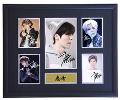 鹿晗 限量复刻复印版本亲笔签名照片相框含证书