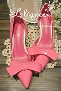 春季2015 欧美大牌明星时尚漆皮中跟单鞋蝴蝶结尖头浅口女鞋