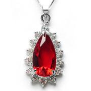 本命年s925纯银仿水滴形红色水晶吊坠项链滴水大红毛衣链锁骨生日