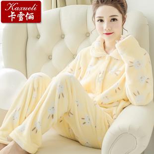秋冬季女士长袖法兰绒睡衣套装卡通开衫加厚珊瑚绒睡衣女冬家居服