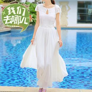 2014夏季冰丝雪纺气质长裙 女装长款显瘦连衣裙