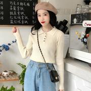 秋季女装长袖polo领排扣针织衫时尚舒适打底衫上衣潮