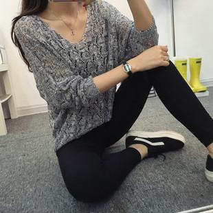 春装2019镂空针织衫女套头宽松蝙蝠针织外套女毛衣罩衫防晒衣