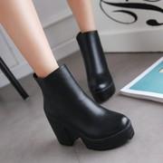 秋冬单靴厚底防水台粗跟马丁靴英伦短靴子高跟及踝靴大码女鞋