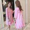 卡通字母体恤女短袖宽松中长款夏季荷叶边裙摆学生粉色T恤裙