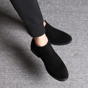 高帮鞋男反毛皮磨砂皮鞋子潮冬季棉加绒保暖翻毛皮马丁靴男鞋